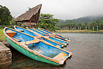 Las Terrazas, Cuba; row boats beached on the shoreline of a small lake near the visitors welcome center at Las Terrazas