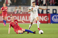 CARSON, CA - FEBRUARY 7: Becky Sauerbrunn #4 of the United States attempts a slide tackle on Renae Cuellar #9 of Mexico during a game between Mexico and USWNT at Dignity Health Sports Park on February 7, 2020 in Carson, California.