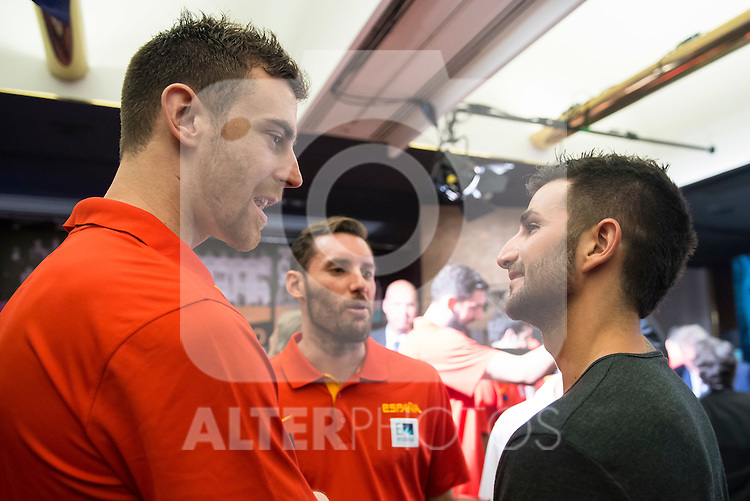 Victor Claver and Ricky Rubio during the 80th Aniversary of the National Basketball Team at Melia Castilla Hotel, Spain, September 01, 2015. <br /> (ALTERPHOTOS/BorjaB.Hojas)