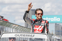 March 20, 2016: Esteban Gutierrez (MEX) #21 from the Haas F1 Team at the drivers' parade prior to the 2016 Australian Formula One Grand Prix at Albert Park, Melbourne, Australia. Photo Sydney Low