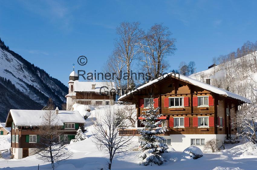 CH, Switzerland, Canton Uri, Unterschaechen at Schaechen Valley with parish church St. Theodul situated on Bielen Hill