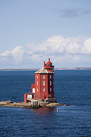 Uniquely shaped lighthouse off Norway's coast.