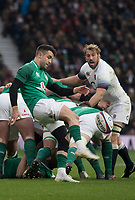 Twickenham, United Kingdom.  Connor MURRAY, kick's the ball clear, from behind the scrum during the Natwest 6 Nations Rugby Match, England vs Ireland. at the  RFU Stadium, Twickenham, England, <br /> <br /> Saturday   17.03.18<br /> <br /> [Mandatory Credit; Peter Spurrier/Intersport-images]