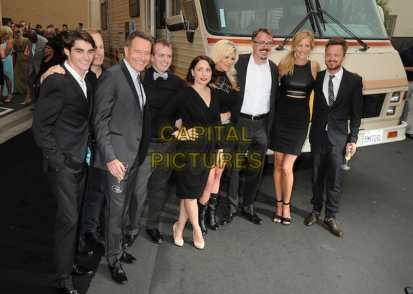 RJ Mitte, Bob Odenkirk, Bryan Cranston, Laura Fraser, Vince Gilligan, Anna Gunn, Aaron Paul<br /> &quot;Breaking Bad&quot; Final Episodes Los Angeles Premiere Screening held at Sony Pictures Studios, Culver City, California, USA, 24th July 2013.<br /> full length black suit tie grey gray white shirt leather dress draped ruched cut out hand on hip <br /> CAP/ADM/BP<br /> &copy;Byron Purvis/AdMedia/Capital Pictures