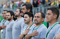 9th November 2019; Bankwest Stadium, Parramatta, New South Wales, Australia; International Womens Friendly Football, Australia versus Chile; Jose Letelier coach of Chile during the national anthem - Editorial Use