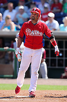 Philadelphia Phillies Placido Polanco #27 during a scrimmage vs the Florida State Seminoles  at Bright House Field in Clearwater, Florida;  February 24, 2011.  Philadelphia defeated Florida State 8-0.  Photo By Mike Janes/Four Seam Images