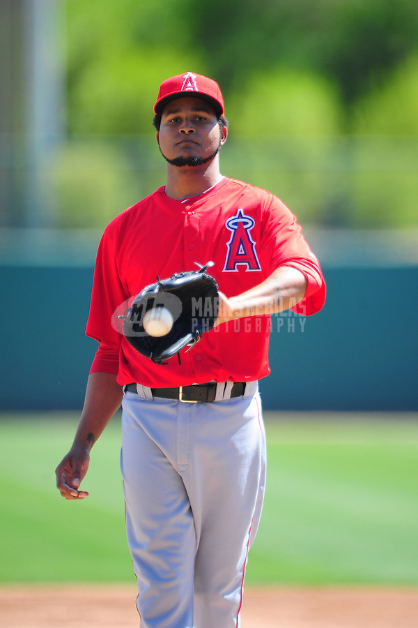 Mar. 14, 2012; Phoenix, AZ, USA; Anaheim Angels pitcher Ervin Santana in the first inning against the Chicago White Sox at The Ballpark at Camelback Ranch. Mandatory Credit: Mark J. Rebilas-