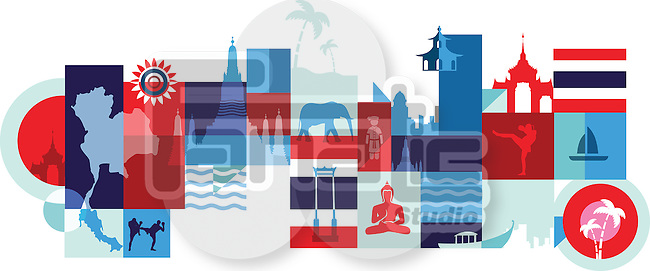 Illustrative collage of tourist attractions in Thailand, Bangkok