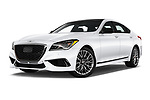 Stock pictures of low aggressive front three quarter view of a 2018 Genesis G80 Sport 4 Door Sedan