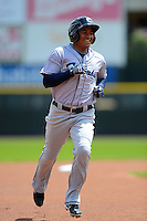Columbus Clippers outfielder Ezequiel Carrera #10 runs the bases after hitting a lead off home run during a game against the Rochester Red Wings on May 12, 2013 at Frontier Field in Rochester, New York.  Rochester defeated Columbus 5-4.  (Mike Janes/Four Seam Images)
