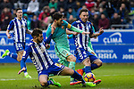 Club Deportivo Alaves'es defender Theo Hernandez and defender Alexis Ruano competes for the ball with FC Barcelona's forward Leo Messi  during the match of La Liga between Deportivo Alaves and Futbol Club Barcelona at Mendizorroza Stadium in Vitoria, Spain. February 11, 2017. (ALTERPHOTOS/Rodrigo Jimenez)