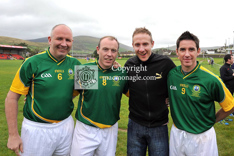 Former Kerry footballer Tommy Griffin with other greats from left, Glenn Ryan, (Cork) Seamus Moynihan (Kerry)  and Anthony Rainbow (Kildare)  at the Over 35's football torunament in aid of the 'Tit Bonhomme' trgedy in Dingle, County Kerry at the weekend..Picture by Don MacMonagle