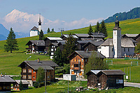 Switzerland, Canton Valais, Gluringen at valley Goms with parish church + Ritzinger field chapel and Weisshorn mountain