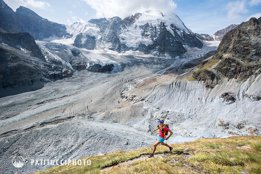 The Chamonix to Zermatt Glacier Haute Route. In late August 2017, we ran the tour in mountain running gear, running shoes, and all the necessary glacier travel and crevasse rescue gear. On the last day, after leaving the Stockjigletscher, the route is all trails and mostly running all the way to Zermatt.