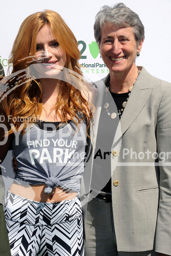 Bella Thorne and United States Secretary of the Interior Sally Jewell attend #FindYourPark Campaign Launch at Flatiron Plaza on April 2, 2015 in New York City