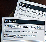 Polling card for voting in UK local election and referendum May 2011