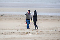 Pictured: Dog Walkers on Swansea Sea Front, Swansea, Wales, UK. Thursday 31 January 2019<br /> Re: