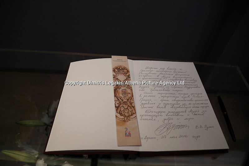 Pictured: The signed visitors' book Friday 27 May 2016<br /> Re: Russian President Vladimir Putin with Greek Prime Minister Alexis Tsipras at the exhibition opening 'Ascension of the Christ' at the Byzantine Museum, Athens, Greece