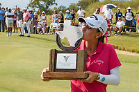 Cheyenne Knight (USA) kisses the trophy after winning the 2019 Volunteers of America Texas Classic, the Old American Golf Club, The Colony, Texas, USA. 10/6/2019.<br /> Picture: Golffile | Ken Murray<br /> <br /> <br /> All photo usage must carry mandatory copyright credit (© Golffile | Ken Murray)