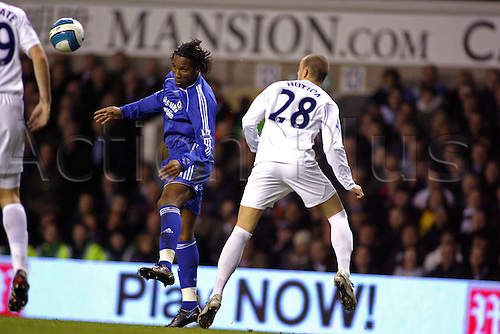 19 March 2008: Chelsea striker Didier Drogba wins a header during the Premier League game between Tottenham Hotspur and Chelsea, played at White Hart Lane. The game finished 4-4. Photo: Actionplus....080319 football soccer player premiership