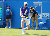 June 19th 2017, Queens Club, West Kensington, London; Aegon Tennis Championships, Day 1; Kyle Edmund of Great Britain plays a forehand versus Denis Shapovalov of Canada
