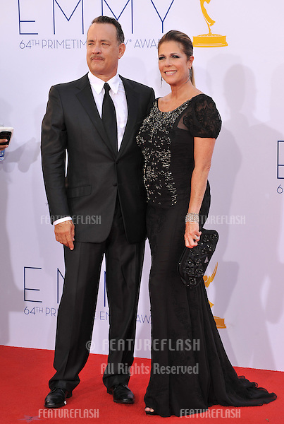 Tom Hanks & Rita Wilson at the 64th Primetime Emmy Awards at the Nokia Theatre LA Live..September 23, 2012  Los Angeles, CA.Picture: Paul Smith / Featureflash