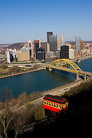 Pittsburgh Skyline - City View with Duquesne Incline, vertical