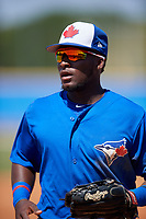 Toronto Blue Jays Chavez Young (57) during a Minor League Spring Training game against the New York Yankees on March 18, 2018 at Englebert Complex in Dunedin, Florida.  (Mike Janes/Four Seam Images)