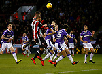 Leon Clarke of Sheffield Utd and Jack O'Connell of Sheffield Utd go for the same ball during the Championship match at Bramall Lane Stadium, Sheffield. Picture date 30th December 2017. Picture credit should read: Simon Bellis/Sportimage
