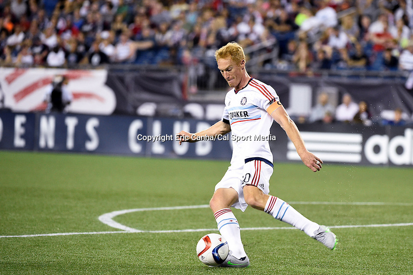 June 13, 2015 - Foxborough, Massachusetts, U.S. - Chicago Fire midfielder Jeff Larentowicz (20) in game action during the MLS game between Chicago Fire and the New England Revolution held at Gillette Stadium in Foxborough Massachusetts. The Revolution defeated the Fire 2-0. Eric Canha/CSM