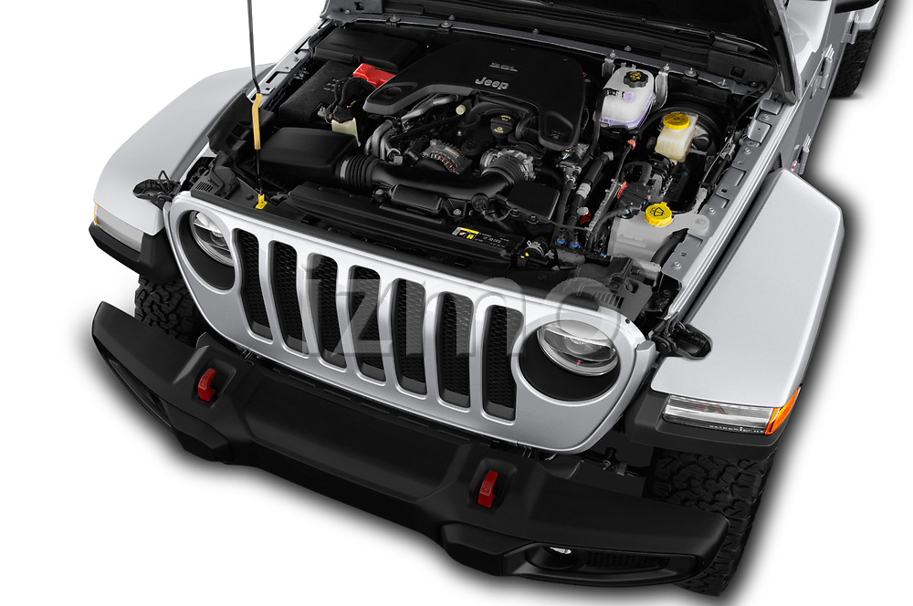 Car stock 2018 Jeep Wrangler-Unlimited Rubicon 5 Door SUV engine high angle detail view