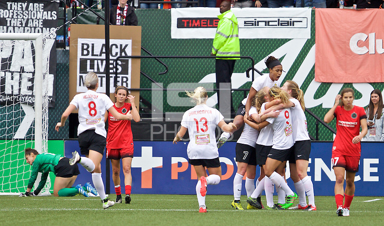 Portland, OR - Sunday Oct. 02, 2016: Makenzy Doniak celebrates scoring during a National Women's Soccer League (NWSL) semi-finals match between the Portland Thorns FC and the Western New York Flash at Providence Park.