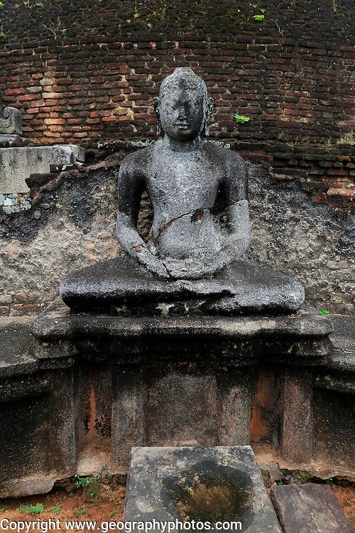 Pabula Vihara temple, UNESCO World Heritage Site, the ancient city of Polonnaruwa, Sri Lanka, Asia seated Buddha statue figure