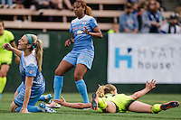 Seattle, WA - Sunday, May 22, 2016: Seattle Reign FC midfielder Beverly Yanez (17) reacts after being fouled during a regular season National Women's Soccer League (NWSL) match at Memorial Stadium. Seattle won 2-1.
