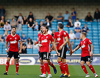 GOAL - Ipswich Town's Joe Garner is congratulated for his goal during the Sky Bet Championship match between Millwall and Ipswich Town at The Den, London, England on 15 August 2017. Photo by Carlton Myrie.