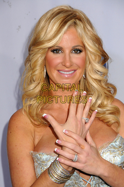 KIM ZOLCIAK.2009 Fox Reality Channel Really Awards held at the Music Box Theatre, Hollywood, California, USA..October 13th, 2009.headshot portrait silver strapless ring hand bracelets french manicure nail varnish polish cleavage white gold lace pale blue .CAP/ADM/BP.©Byron Purvis/AdMedia/Capital Pictures.