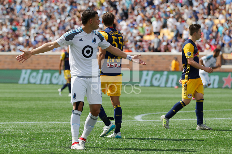Minneapolis, MN - Saturday, July 22, 2017: Minnesota United FC played New York Red Bulls in a Major League Soccer (MLS) game at TCF Bank stadium. Final score Minnesota United 0, Red Bulls 3