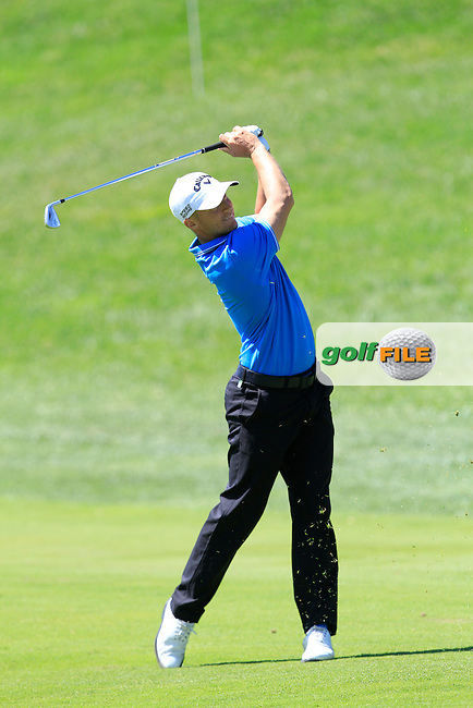 Alex Noren (SWE) on the 18th during Thursday's Round 1 of The Open De Espana at The PGA Catalunya Resort. 15th May 2014.<br /> Picture:  Thos Caffrey / www.golffile.ie