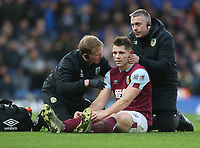 Burnley's James Tarkowski receives treatment<br /> <br /> Photographer Rob Newell/CameraSport<br /> <br /> The Premier League - Chelsea v Burnley - Saturday 11th January 2020 - Stamford Bridge - London<br /> <br /> World Copyright © 2020 CameraSport. All rights reserved. 43 Linden Ave. Countesthorpe. Leicester. England. LE8 5PG - Tel: +44 (0) 116 277 4147 - admin@camerasport.com - www.camerasport.com