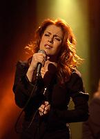 February 18, 2002, Montreal, Quebec, Canada; <br /> <br /> Quebec singer Isabelle Boulay in concert<br /> <br /> <br /> NOTE :  D-1 H original JPEG, saved as Adobe 1998 RGB
