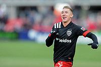 WASHINTON, DC - FEBRUARY 29: Washington, D.C. - February 29, 2020: Russell Canouse #4 of D.C. United celebrates his score during the game. The Colorado Rapids defeated D.C. United 2-1 during their Major League Soccer (MLS)  match at Audi Field during a game between Colorado Rapids and D.C. United at Audi FIeld on February 29, 2020 in Washinton, DC.