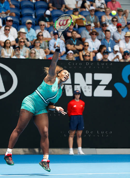15th January 2019, Melbourne Park, Melbourne, Australia; Australian Open Tennis, day 2; Serena Williams of USA serve against Tatjana Maria of Germany