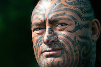 "Gary ""Gazza"" Parata is a teacher and performer of Māori history and culture. His moko (tattoo) design came to him in a dream and its story is personal connecting Gazza to his ancestral past (whakapapa). Moko is a visual language that connects the wearer to their whakapapa."