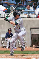 Alex Buchholtz #12 of the Lynchburg Hillcats at bat during a game against the Kinston Indians at Granger Stadium  on April 28, 2010 in Kinston, NC. Photo by Robert Gurganus/Four Seam Images.