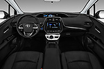 Stock photo of straight dashboard view of 2017 Toyota Prius Two 5 Door Hatchback Dashboard
