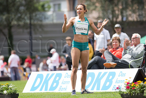 26.06.2016. Ratingen, Germany.  British heptathlete Jessica Ennis-Hill gets the crowd clapping during the long jump segment at the Combined Events Challenge meeting in Ratingen, Germany, 26 June 2016.