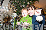 Christmas tree: Sinead Allen, Ballybunion and her daughter Nadine decorating the upsidedown Christmas tree at Elizabelles in Listowel.   Copyright Kerry's Eye 2008