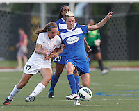 Sky Blue FC midfielder Katy Freels (Frierson) (17) and Boston Breakers midfielder Joanna Lohman (11) battle for the ball.  In a National Women's Soccer League (NWSL) match, Boston Breakers (blue) defeated Sky Blue FC (white), 3-2, at Dilboy Stadium on June 30, 2013.