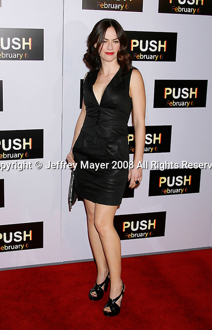 """WESTWOOD, CA. - January 29: Actress Maggie Siff arrives at the Los Angeles Premiere of """"Push"""" at the Mann Village Theater on January 29, 2009 in Westwood, California."""