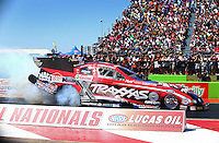 Sept. 21, 2013; Ennis, TX, USA: NHRA funny car driver Courtney Force during qualifying for the Fall Nationals at the Texas Motorplex. Mandatory Credit: Mark J. Rebilas-